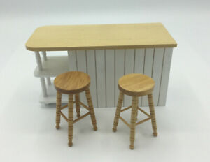 Dolls House Kitchen Island And Two Stools