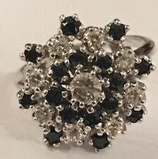 VINTAGE SAPPHIRE  CLUSTER DIAMOND COCKTAIL RING 14K WHITE GOLD SIZE 6.5