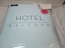 New Hotel Balfour Light Green and White Plaid King Sheet Set ~ Deep Pockets NIP