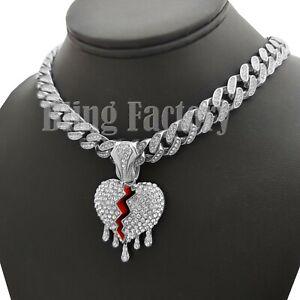 """Drip Broken Heart pendant 18"""" Iced Box Lock Cuban Choker Chain Hip Hop Necklace"""