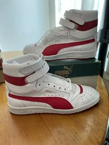 DS PUMA SKY II Contact White/Red Leather High Double Strap VINTAGE 2002