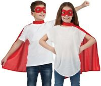 Childs Halloween Superhero Fancy Dress Kit Cape & Mask Red Kids Cloak New w