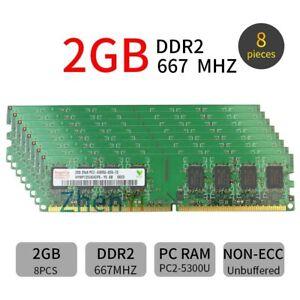 16GB 8x 2GB / 1GB PC2-5300U DDR2 667MHz DIMM Desktop Memory For Hynix LOT 777