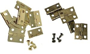 Small Hinges With Screws Brassed Jewellery Box Dolls House 2, 4, 6, 8. 10 etc