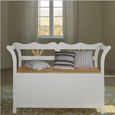 Window Seat Storage Bench with Armrests White Wood Classic Design Home Hallway