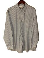 LL Bean Wrinkle Resistant Men's XL-Tall Blue White Stripe L/S Button Down Shirt