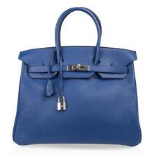 Hermes Birkin 35 Bag Blue Sapphire Limited Edition Toile Sea Surf Fun Interior