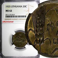 Lithuania Aluminum-Bronze 1925 20 Centu NGC MS62 1 YEAR TYPE KM# 74