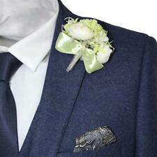 Men's Harry Brown Wedding Suit Corsage with Green Flower