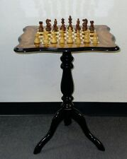 "3"" Sheesham Chessmen On Elm Sculpted Floral Inlay Chess Table"