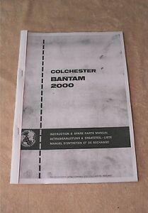 Colchester Bantam 2000 MK 2  Lathe Manual