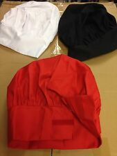 Chef Chef's Cooks Hat -Multiple Size Adjustment- Choice of Color Black White Red