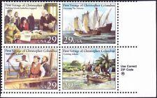 US - 1992 - 29 Cents Voyages of Columbus Se-Tenant Zip Block #2620-#2623 #2623a