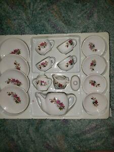 Mini Tea Set Fine Porcelain 17 pc Miniature Tea Doll House Time Party Toy Flower