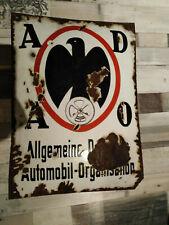 Vintage enamel sign ADAO german automobile club ADAC VW Mercedes Porsche BMW