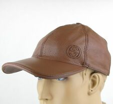 New Gucci Medium Brown Leather Baseball Cap Hat with Interlocking G 337798 2138