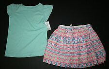 New Carter's 3 Pc Lace Pocket Tee Top & Aztec Print Skirt & Bike Shorts Size 8