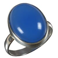925 Solid Sterling Silver Ring Natural Chalcedony Blue Stone US Size 3 to14 JR66