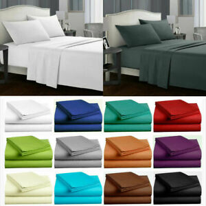 Single/Double/Queen/King Size Bed Sheets Set 4PCS Flat and Fitted Pillow Cases