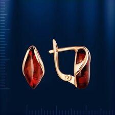 Rose Gold 14k/ 585 Baltik Amber Earrings 15 Х 7 Mm STUNNING 2.82g