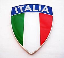 Enamel Chrome ITALIAN Flag ITALIA Car Badge Fiat Alfa