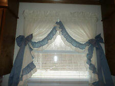 "COUNTRY RUFFLE Priscilla Cottage CURTAINS 1 Pair 86""X42"" Natural & Slate Blue"