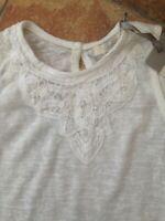 Onfire Brand Womens Crochet Lace Teeshirt Top Size 14 BNWT RRP £26.99 White
