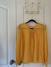 YSL YVES SAINT LAURENT RIVE GAUCHE YELLOW SILK   BLOUSE SZ 40