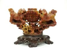 """Gorgeous Chinese Intricately Carved Soap stone Foo Dog incense Burner 6.5"""""""