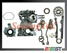 Fit 85-95 Toyota 2.4L 22R 22RE Engine Timing Chain Kit with Cover + Oil Pump set