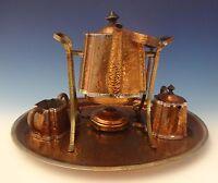Joseph Heinrichs Copper Tea Set Arts & Crafts Tea Kettle Sugar Creamer 4pc #0189