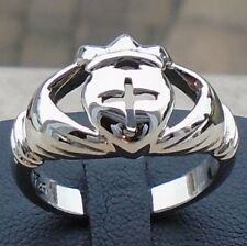 925 Sterling Silver Celtic Hands Heart Crown Claddagh Ring Size 12 Solid Hal New