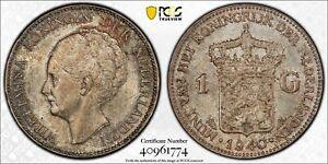 Netherlands Queen Wilhelmina silver 1 gulden 1940 toned uncirculated PCGS MS63