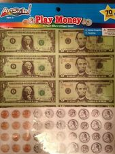 New 70 piece PLAY MONEY set, realistic money,kids play, teachers, educational