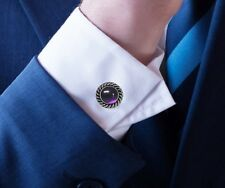 Men's Cufflinks Handmade Amethyst 925 Sterling Silver, Energy Gifts From Nature