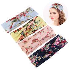 4*Elastic Turban Head Wrap Headband Rose Flower Twisted Hair Band Beauty