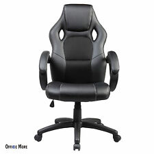 Executive Swivel Leather Black Office Chair Race Car Style Bucket Seat High Back