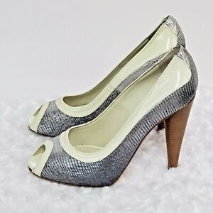 7 For All Mankind Womens Pumps Pewter Ivory Patent Leather Peep Toe Heels 37 5.5