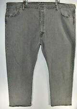New Levis Mens Jeans 501 Straight Leg Button Fly Size 54x32 Dark Wash Gray Black