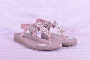 Women's Skechers Meditation - Stars & Sparkle T Strap Sandals, Light Pink, 7M