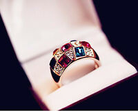 Women Gold Colorful Rhinestone Crystal beaded Finger Ring Jewelry Gift Size 8 hs
