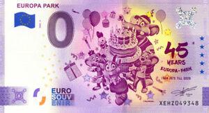 ALLEMAGNE Rust, Europa Park 5, 45 ans, Anniversaire, 2020, Billet Euro Souvenir