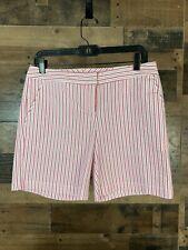 IZOD Pink & White Striped Shorts Stretch Size 4 NWT