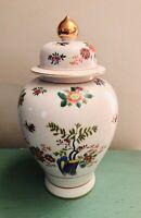 Vintage Heygill Imports Japan Hand Painted Glaze Ginger Jar Vase, Lid Porcelain