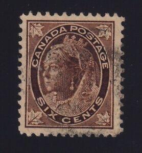 Canada Sc #71 (1897) 6c brown Maple Leaf VF Used