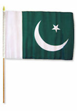 "12x18 12""x18"" Wholesale Lot of 3 Pakistan Stick Flag wood staff"