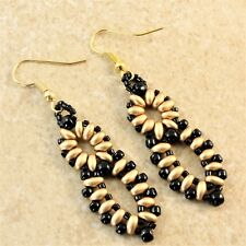 Earrings Oval Woven Figure Eight Beaded Gold Super Duo Earrings Black Seed Bead
