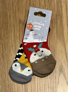 Joules Festive Character / Christmas Socks, Penguin / Pudding, Size 6-12 M - NWT