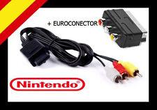 CABLE AUDIO VIDEO AV RCA SUPER NINTENDO + SCART EUROCONECTOR GAMECUBE N64 SNES