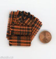 Miniature Dollhouse 8 Pc Dish Towel Set / Orange & Black